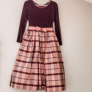 Jayne Copeland Girls' Plaid & Velvet Formal Dress